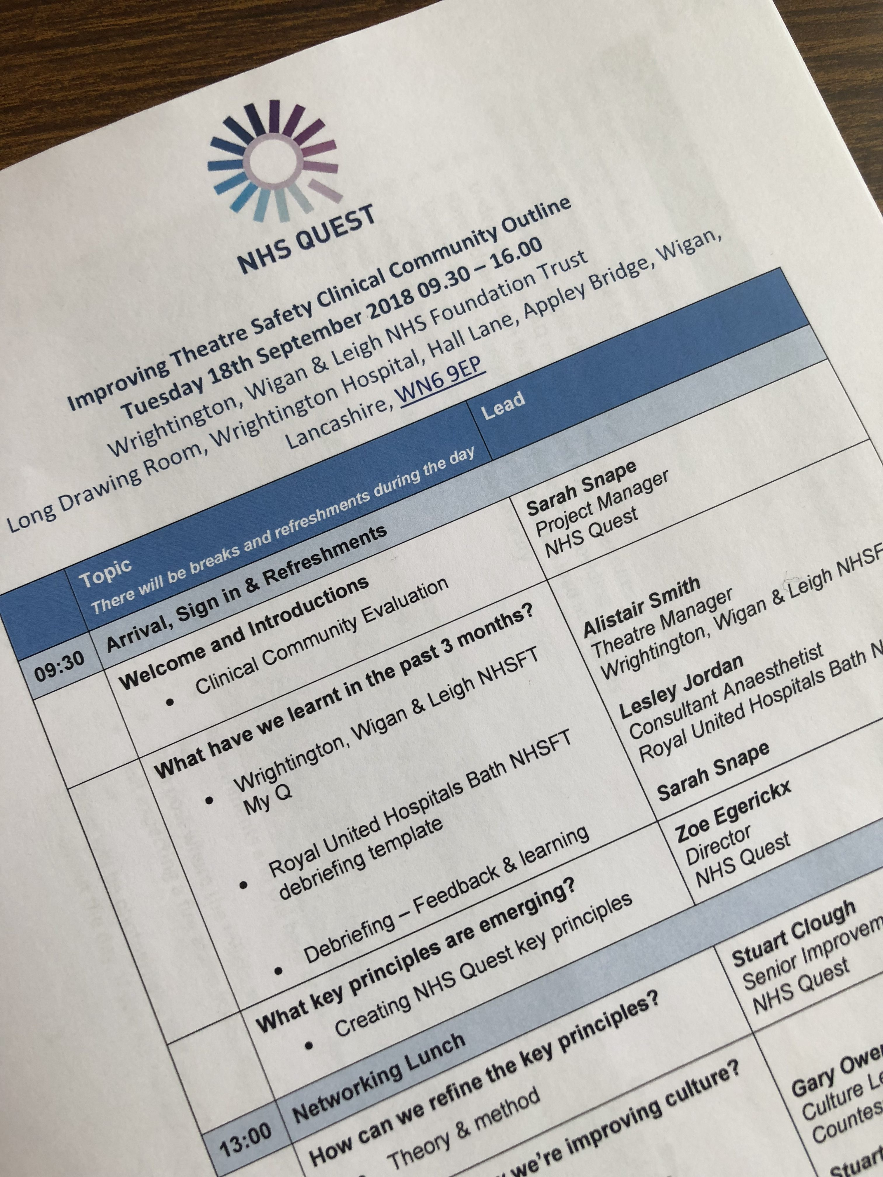 Live Blog Improving Theatre Safety Clinical Community Quest